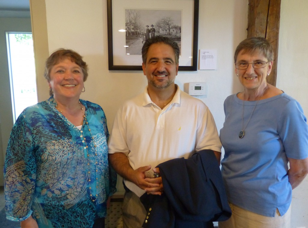 Library Trustee Faith Honer-Coakley with Selectman Tom Terranova and Library Director Nancy Ryan